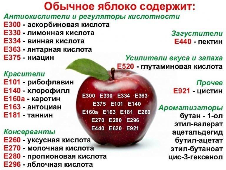 пищевые добавки в обычном яблоке